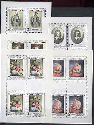 Czechoslovakia 1977 Paintings (12th series) set of 5 each in unmounted mint sheetlets of 4 plus 2 blank labels, SG 2375-79, Mi 2413-17