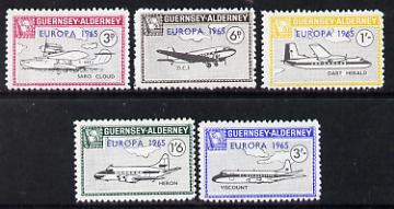 Guernsey - Alderney 1965 Europa overprint on Aircraft set of 5 unmounted mint Rosen CSA 46-50
