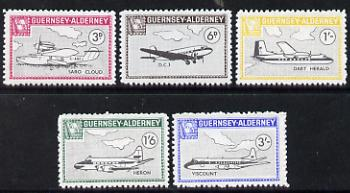 Guernsey - Alderney 1965 Aircraft perf set of 5 unmounted mint