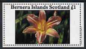 Bernera 1982 Flowers #11 (Lily) imperf  souvenir sheet (�1 value) unmounted mint