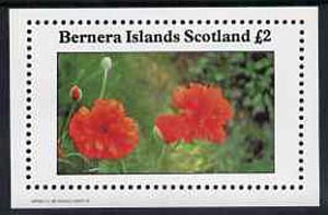 Bernera 1982 Flowers #11 (Poppy) imperf  deluxe sheet (�2 value) unmounted mint