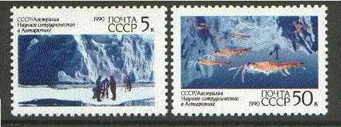 Russia 1990 Soviet-Australian Scientific Co-operation in Antarctica set of 2 unmounted mint, SG 6151-52, Mi 6095-96*