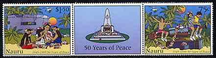 Nauru 1995 50th Anniversary of Peace set of 2 se-tenant with label unmounted mint, SG 442a