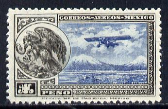 Mexico 1929 Farman F.190 (plus Eagle with Snake on Cactus) 1p blue & black (inv wmk) unmounted mint SG 474*