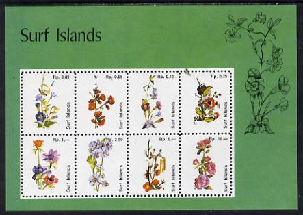 Surf Island Flowers perf sheetlet containing complete set of 8 (green border) unmounted mint