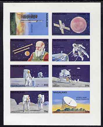 Nagaland 1972 Space complete imperf set of 8 unmounted mint