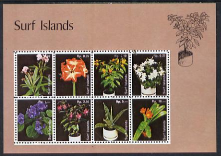 Surf Island Flowers perf sheetlet containing complete set of 8 (lilac border) unmounted mint