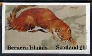 Bernera 1982 Animals imperf  souvenir sheet (\A31 value Stoat) unmounted mint