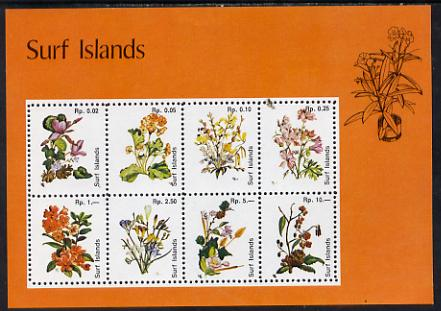 Surf Island Flowers perf sheetlet containing complete set of 8 (orange border) unmounted mint