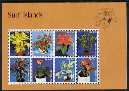 Surf Island Flowers perf sheetlet containing complete set of 8 (tan border) unmounted mint