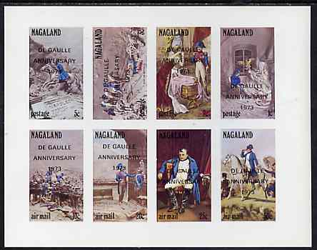 Nagaland 1972 Napoleon imperf set of 8 values complete opt'd De Gaulle Anniversary unmounted mint