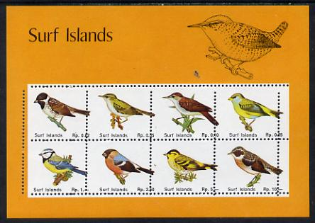Surf Island British Birds perf sheetlet containing complete set of 8 (orange border) unmounted mint
