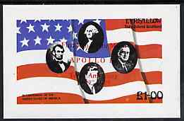 Eynhallow 1976 USA Bicentenary (US Presidents & Flag) imperf souvenir sheet opt'd for First Man On The Moon in red unmounted mint