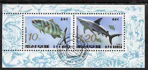 North Korea 1993 Fish sheetlet containing 10ch & 1w20 values very fine cto used