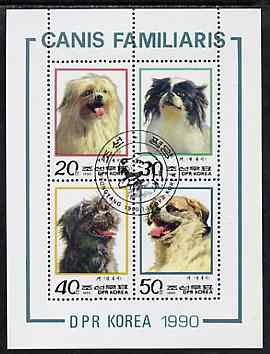 North Korea 1991 Dogs sheetlet containing set of 4 values fine cto used, SG N2932a
