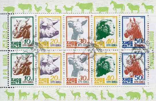 North Korea 1990 Farm Animals sheetlet containing 10 values (2 sets) fine cto used, SG N2997-3001