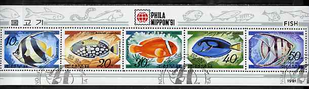 North Korea 1991 Fishes sheetlet containing complete set of 5 (with Phila Nippon 91 imprint) very fine cto used, see after SG N3093
