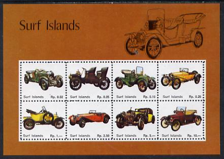 Surf Island Vintage Cars perf sheetlet containing complete set of 8 (tan border) unmounted mint