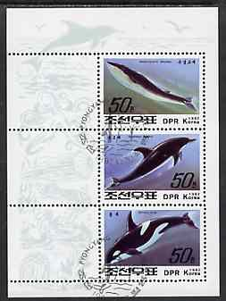 North Korea 1992 Whales & Dolphins sheetlet #1 containing 3 values fine cto used, SG N3208-10