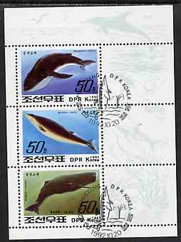 North Korea 1992 Whales & Dolphins sheetlet #2 containing 3 values fine cto used, SG N3211-13