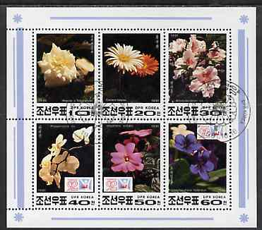 North Korea 1991 Flowers sheetlet containing complete set of 6 values very fine cto used, see after SG N3099, stamps on flowers, stamps on orchids