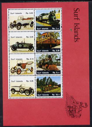 Surf Island Cars & Locomotives perf sheetlet containing complete set of 8 (red border) unmounted mint