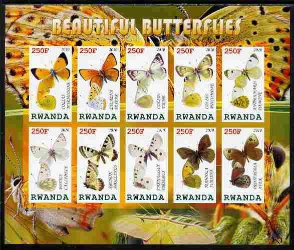Rwanda 2010 Beautiful Butterflies imperf sheetlet containing 10 values unmounted mint