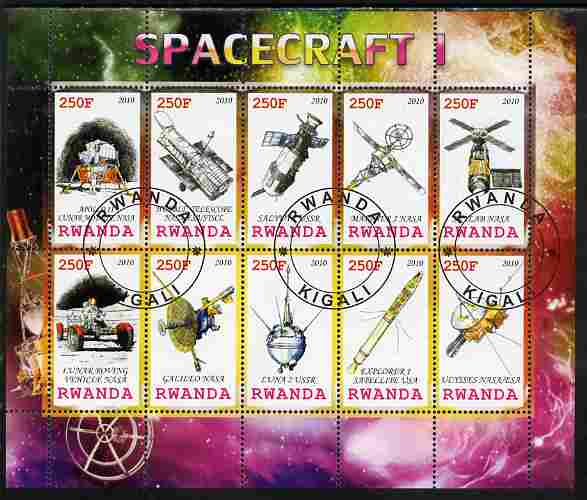 Rwanda 2010 Spacecraft #01 perf sheetlet containing 10 values fine cto used
