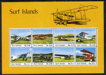 Surf Island Aircraft perf sheetlet containing complete set of 8 (yellow border) unmounted mint