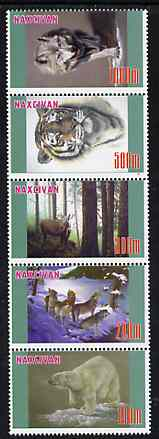 Naxcivan Republic 1997 Wild Animals unmounted mint perf strip of 5 values complete