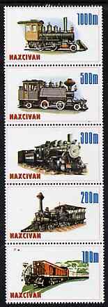 Naxcivan Republic 1997 Locomotives unmounted mint perf strip of 5 values complete