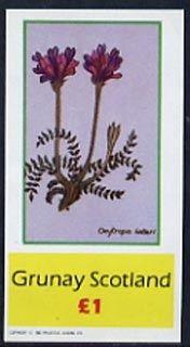 Grunay 1982 Flowers #02 imperf souvenir sheet (�1 value Oxytropis halleri) unmounted mint