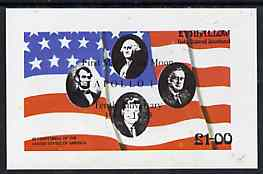 Eynhallow 1976 USA Bicentenary (US Presidents & Flag) imperf souvenir sheet opt'd for First Man On The Moon in black unmounted mint