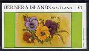 Bernera 1982 Flowers #13 (Pansy) imperf  souvenir sheet (�1 value) unmounted mint
