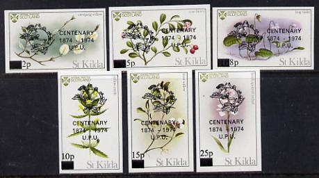 St Kilda 1974 Flowers imperf set of 6 with UPU overprints, unmounted mint