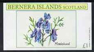 Bernera 1982 Plants #2 (Monkshead) imperf souvenir sheet (�1 value) unmounted mint