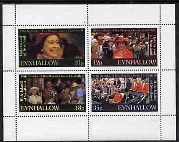 Eynhallow 1986 Queen's 60th Birthday perf set of 4 (10p, 12p, 18p & 35p) unmounted mint