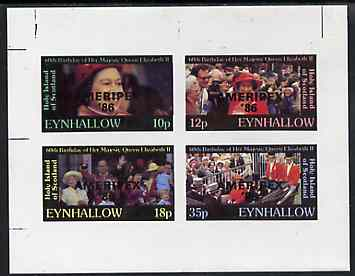 Eynhallow 1986 Queen's 60th Birthday imperf sheetlet containing set of 4 values (10p, 12p, 18p & 35p) opt'd AMERIPEX '86 in black unmounted mint