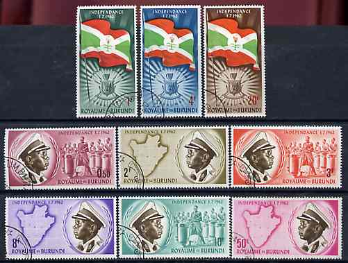 Burundi 1962 Independence set of 9 fine cto used, SG 26-34*