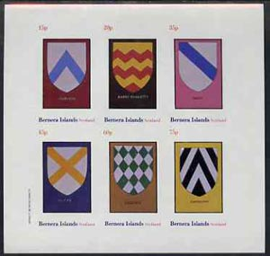 Bernera 1982 Heraldry #2 (Chevron, Saltire, Bend, etc) imperf set of 6 values (15p to 75p) unmounted mint