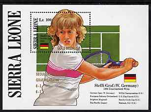 Sierra Leone 1988 Steffi Graf's Grand Slam Tennis Victories unmounted mint m/sheet opt'd 'Seoul Olympics - Graf v Sabatini' in gold, SG MS 1193