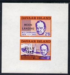 Davaar Island 1966 Churchill imperf m/sheet (3d & 2s6d) with Moon Landing overprint unmounted mint