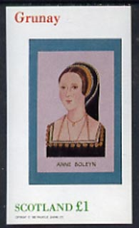 Grunay 1982 Royalty (Anne Boleyn) imperf souvenir sheet (�1 value) unmounted mint