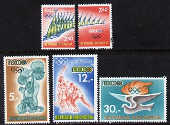 Indonesia 1968 Olympic Games set of 5 unmounted mint SG 1209-13*, stamps on sport    olympics