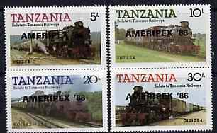 Tanzania 1986 Railways perf set of 4 overprinted 'AMERIPEX '86' in black unmounted mint