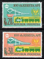 Indonesia 1968 Railway Centenary set of 2 unmounted mint SG 1193-94*