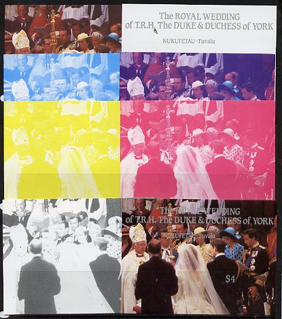 Tuvalu - Nukufetau 1986 Royal Wedding (Andrew & Fergie) $4 m/sheet set of 8 imperf progressive colour proofs comprising the 5 individual colours plus 3 composites unmounted mint