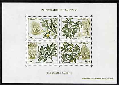 Monaco 1988 Seasons of the Olive Tree m/sheet containing set of 4 unmounted mint, SG MS 1897, Mi BL 41