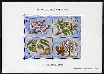 Monaco 1993 Seasons of the Almond Tree m/sheet containing set of 4 unmounted mint, SG MS 2113, Mi BL 57