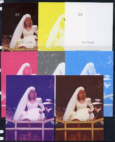 Tuvalu - Nui 1986 Royal Wedding (Andrew & Fergie) $4 m/sheet set of 8 imperf progressive colour proofs comprising the 5 individual colours plus 3 composites unmounted mint